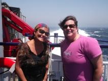 Disfrutando el viaje en ferry con una viajera de USA.